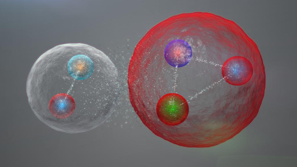 Model mezonu (cząstki zbudowanej z dwóch kwarków) i barionu (cząstki z trzech kwarków) / ryc. CERN